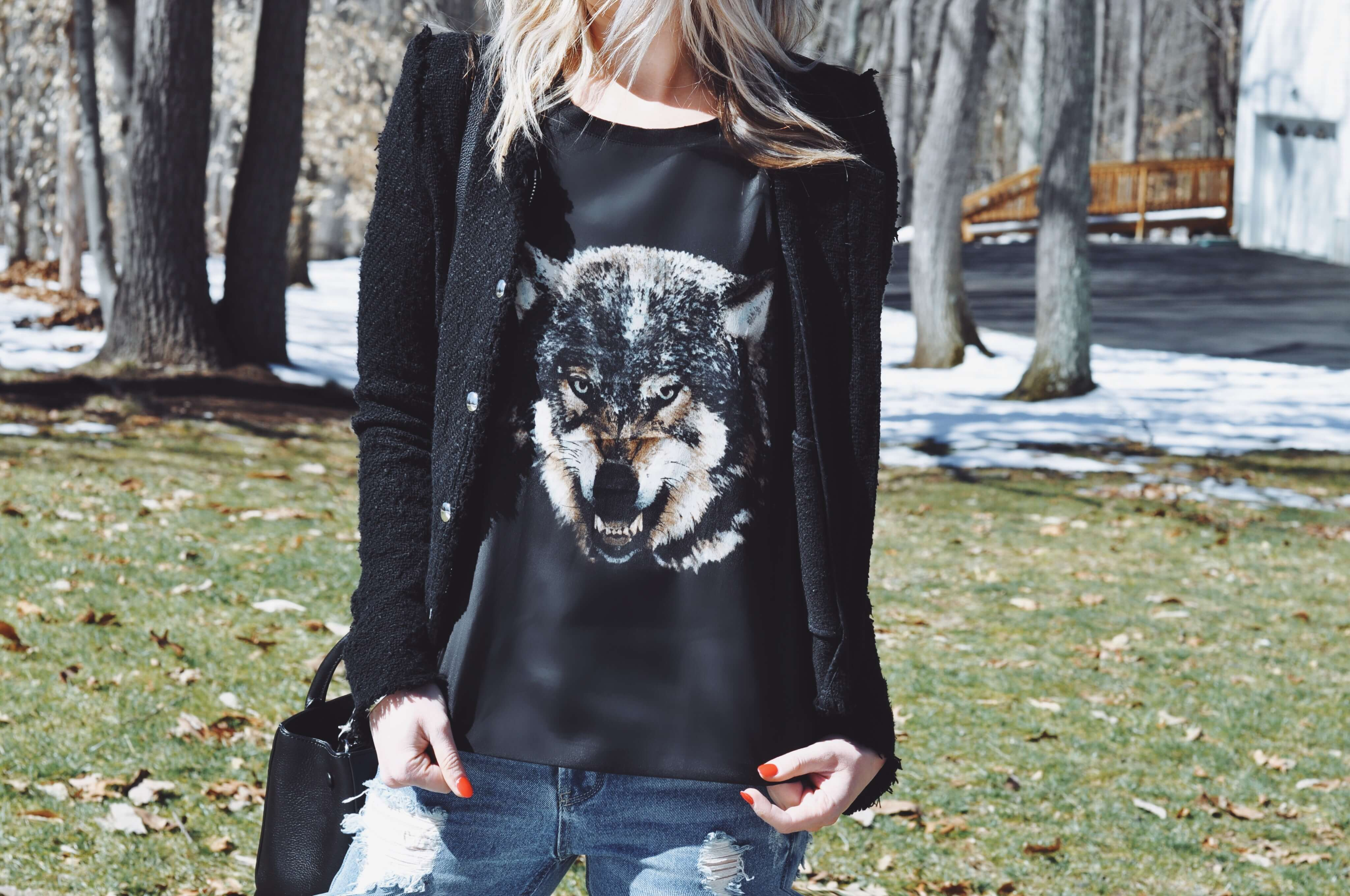close up wolf t shirt black iro jacket