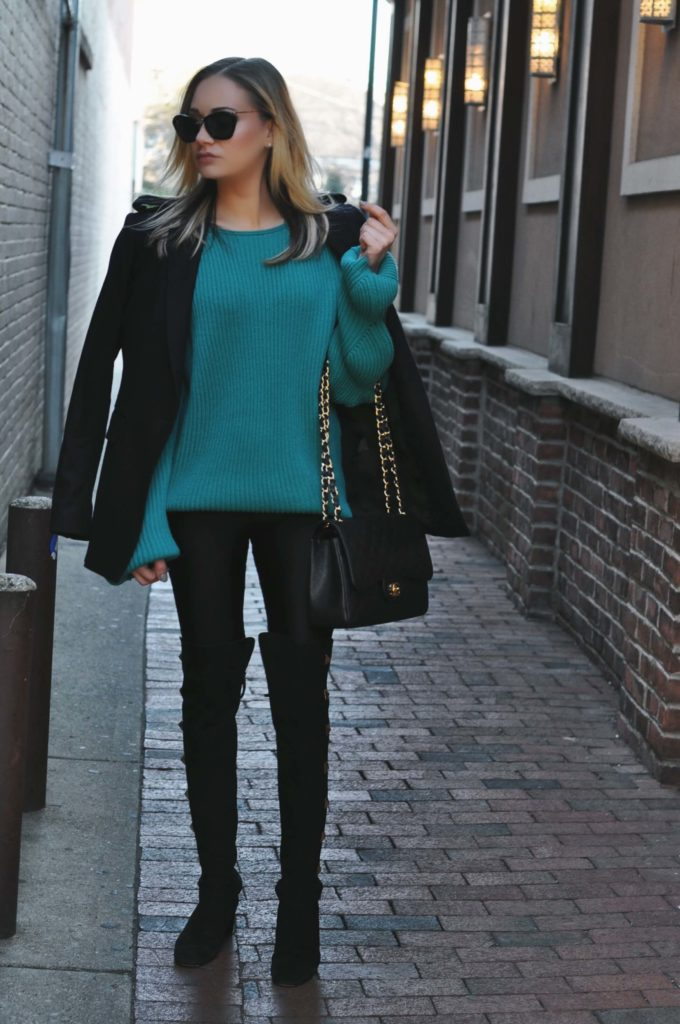 turquoise sweater over the knee boots
